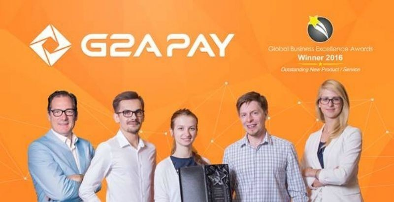 Some members of the G2A Pay Team with The Global Excellence Awards 2016 for Outstanding New Product/Service. G2A Pay has over 100 global payment methods in their ecosystem and these can be used by any company. G2A Pay are open for discussion. (PRNewsFoto/G2A.com)